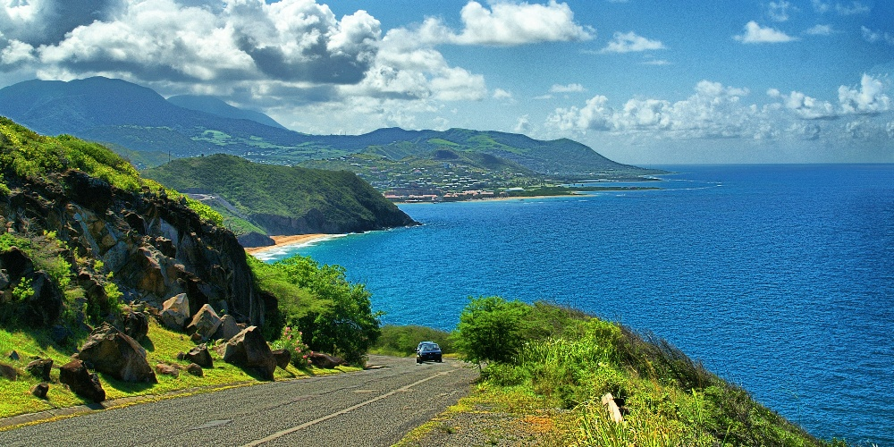 driving on a hill at st kitts and nevis